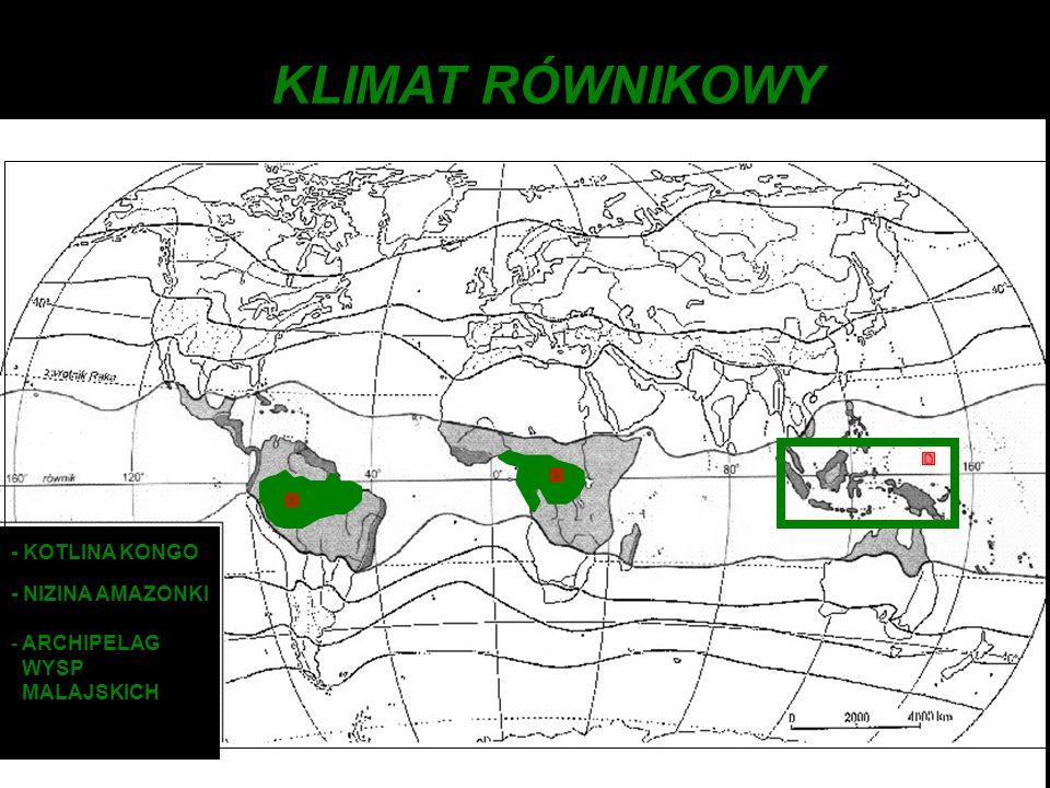 - KOTLINA KONGO - NIZINA AMAZONKI - ARCHIPELAG WYSP MALAJSKICH KLIMAT RÓWNIKOWY