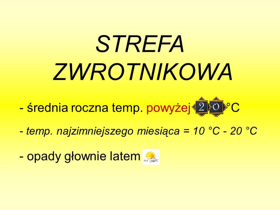 STREFA ZWROTNIKOWA - temp. najzimniejszego miesiąca = 10 °C - 20 °C - średnia roczna temp.