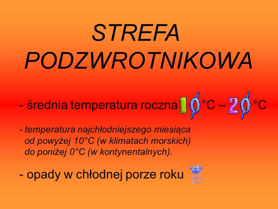 STREFA PODZWROTNIKOWA - temperatura najchłodniejszego miesiąca od powyżej 10°C (w klimatach morskich) do poniżej 0°C (w kontynentalnych).