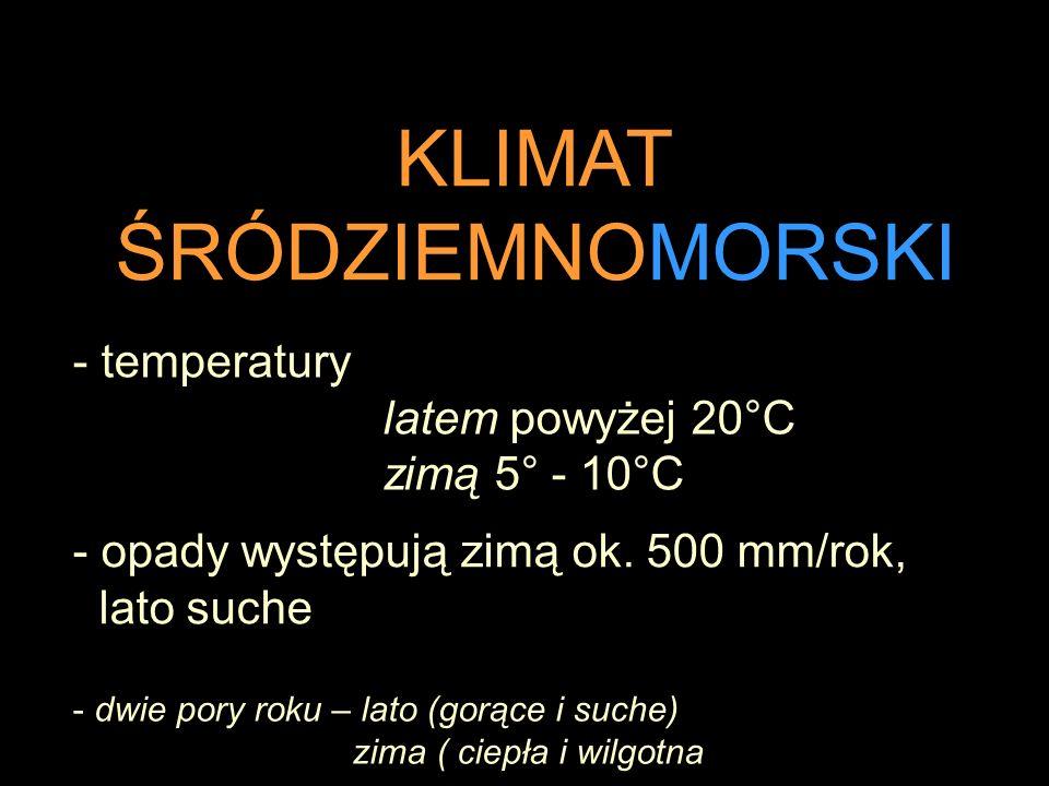 KLIMAT ŚRÓDZIEMNOMORSKI - dwie pory roku – lato (gorące i suche) zima ( ciepła i wilgotna - temperatury latem powyżej 20°C zimą 5° - 10°C - opady występują zimą ok.
