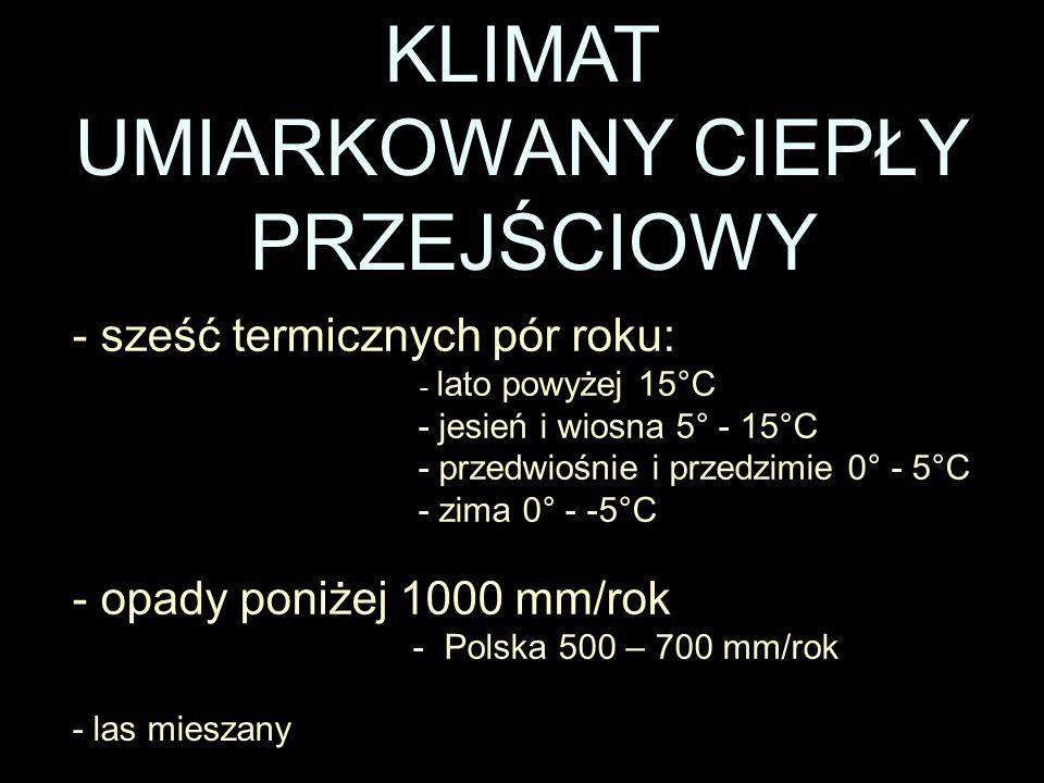 KLIMAT UMIARKOWANY CIEPŁY PRZEJŚCIOWY - sześć termicznych pór roku: - lato powyżej 15°C - jesień i wiosna 5° - 15°C - przedwiośnie i przedzimie 0° - 5°C - zima 0° - -5°C - las mieszany - opady poniżej 1000 mm/rok - Polska 500 – 700 mm/rok