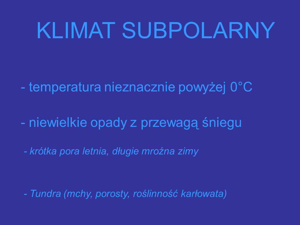 KLIMAT SUBPOLARNY - niewielkie opady z przewagą śniegu - temperatura nieznacznie powyżej 0°C - krótka pora letnia, długie mroźna zimy - Tundra (mchy, porosty, roślinność karłowata)