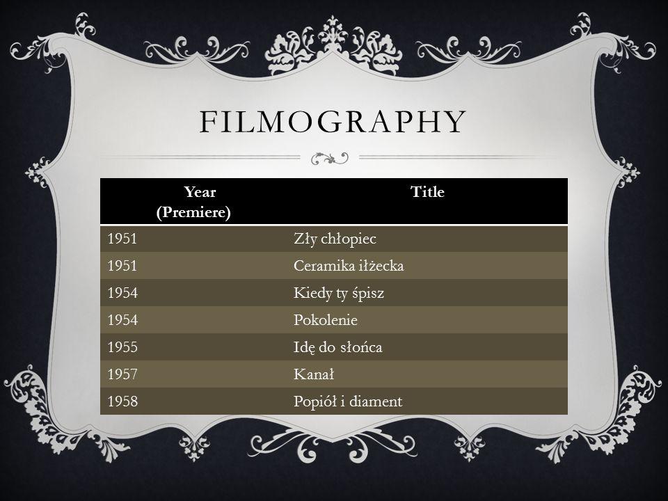 FILMOGRAPHY Year (Premiere) Title 1951Zły chłopiec 1951Ceramika iłżecka 1954Kiedy ty śpisz 1954Pokolenie 1955Idę do słońca 1957Kanał 1958Popiół i diament