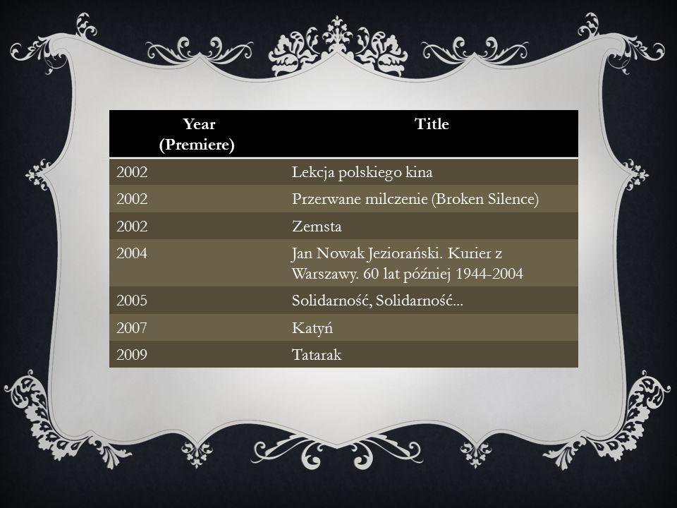 Year (Premiere) Title 2002Lekcja polskiego kina 2002Przerwane milczenie (Broken Silence) 2002Zemsta 2004Jan Nowak Jeziorański.
