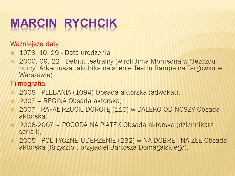 Ważniejsze daty  1973. 10. 29 - Data urodzenia  2000. 09. 22 - Debiut teatralny (w roli Jima Morrisona w