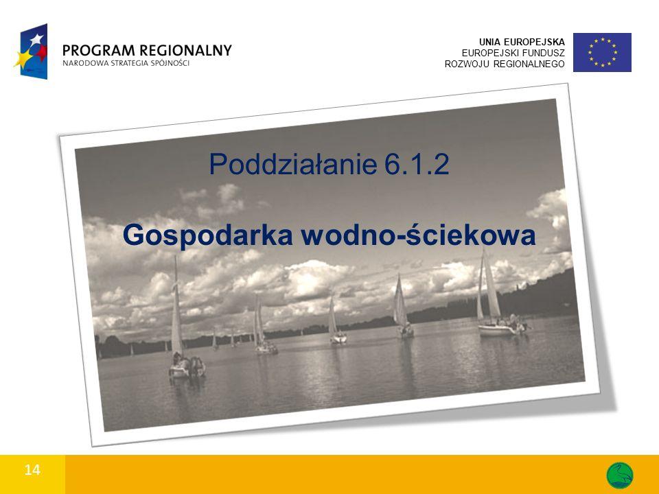 14 UNIA EUROPEJSKA EUROPEJSKI FUNDUSZ ROZWOJU REGIONALNEGO Poddziałanie 6.1.2 Gospodarka wodno-ściekowa