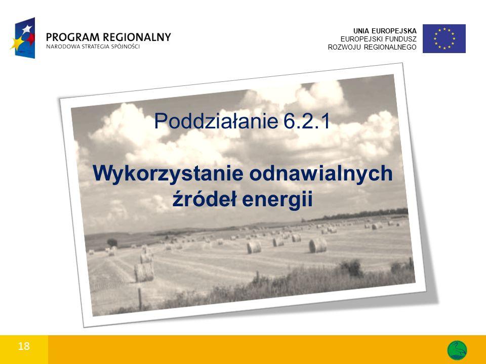 18 UNIA EUROPEJSKA EUROPEJSKI FUNDUSZ ROZWOJU REGIONALNEGO Poddziałanie 6.2.1 Wykorzystanie odnawialnych źródeł energii