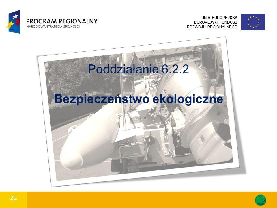 22 UNIA EUROPEJSKA EUROPEJSKI FUNDUSZ ROZWOJU REGIONALNEGO Poddziałanie 6.2.2 Bezpieczeństwo ekologiczne
