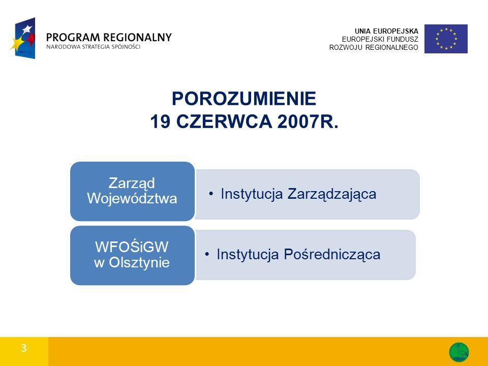 3 POROZUMIENIE 19 CZERWCA 2007R. Instytucja Zarządzająca Zarząd Województwa Instytucja Pośrednicząca WFOŚiGW w Olsztynie UNIA EUROPEJSKA EUROPEJSKI FU