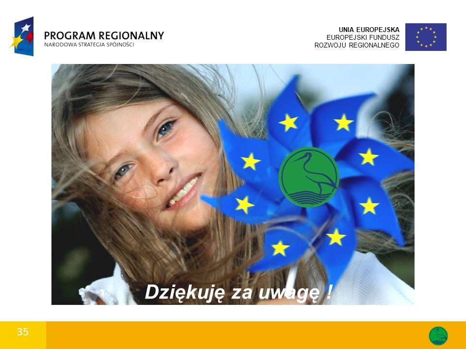 35 UNIA EUROPEJSKA EUROPEJSKI FUNDUSZ ROZWOJU REGIONALNEGO Dziękuję za uwagę !