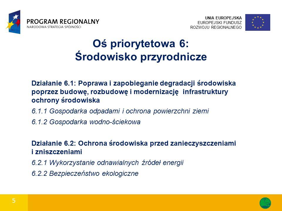 5 UNIA EUROPEJSKA EUROPEJSKI FUNDUSZ ROZWOJU REGIONALNEGO Oś priorytetowa 6: Środowisko przyrodnicze Działanie 6.1: Poprawa i zapobieganie degradacji