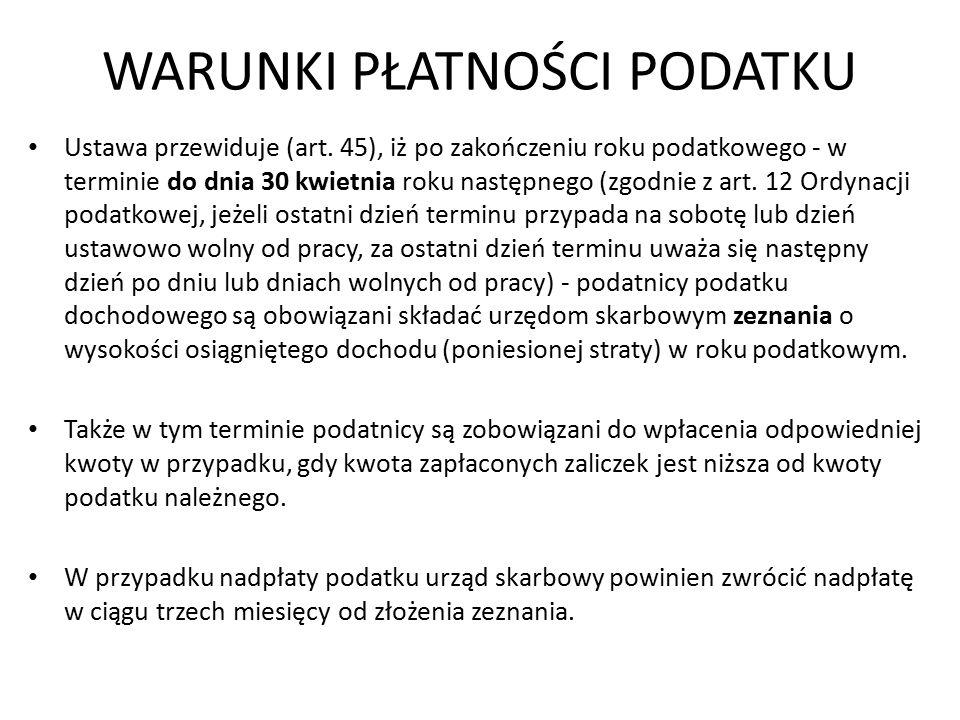 WARUNKI PŁATNOŚCI PODATKU Ustawa przewiduje (art.