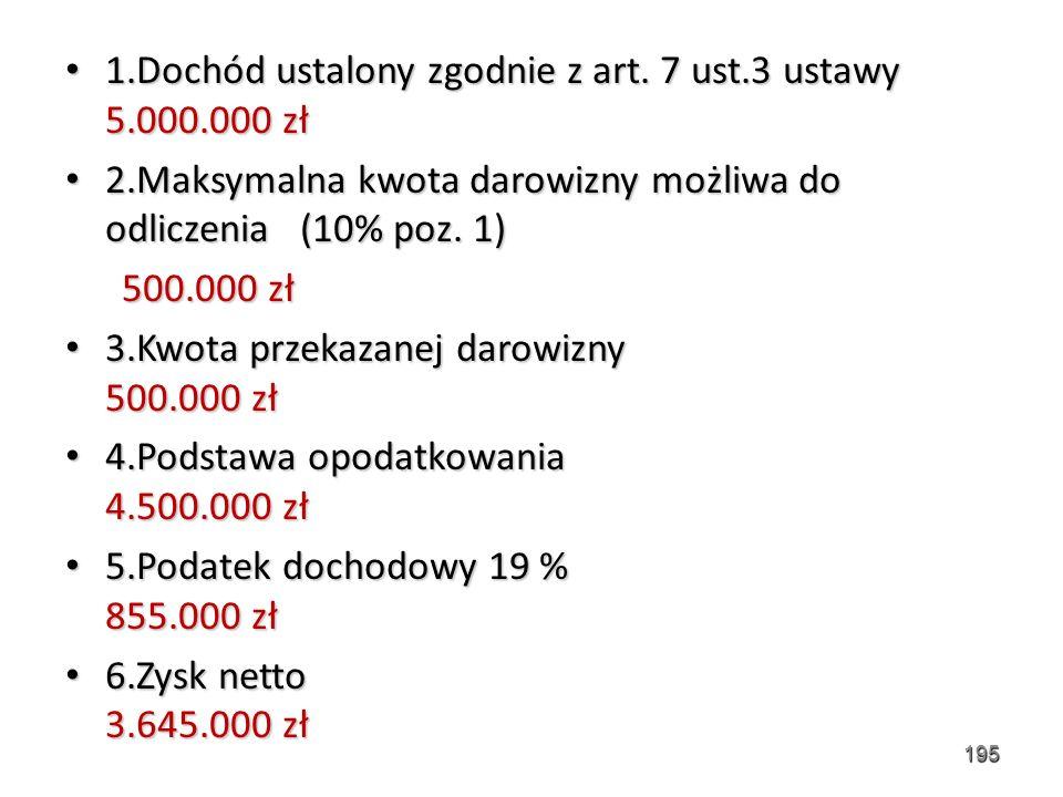 1.Dochód ustalony zgodnie z art. 7 ust.3 ustawy 5.000.000 zł 1.Dochód ustalony zgodnie z art. 7 ust.3 ustawy 5.000.000 zł 2.Maksymalna kwota darowizny