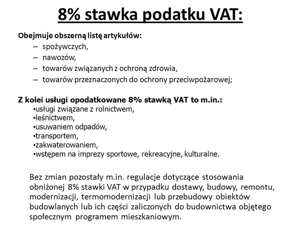 8% stawka podatku VAT: Obejmuje obszerną listę artykułów: – spożywczych, – nawozów, – towarów związanych z ochroną zdrowia, – towarów przeznaczonych do ochrony przeciwpożarowej; Bez zmian pozostały m.in.