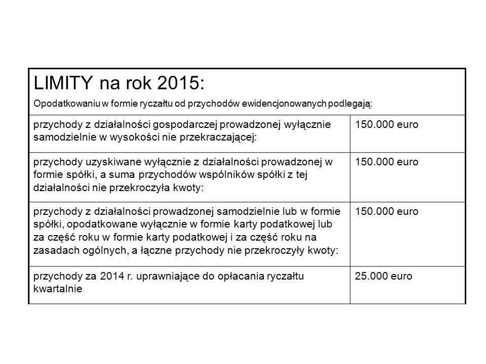 LIMITY na rok 2015: Opodatkowaniu w formie ryczałtu od przychodów ewidencjonowanych podlegają: przychody z działalności gospodarczej prowadzonej wyłącznie samodzielnie w wysokości nie przekraczającej: 150.000 euro przychody uzyskiwane wyłącznie z działalności prowadzonej w formie spółki, a suma przychodów wspólników spółki z tej działalności nie przekroczyła kwoty: 150.000 euro przychody z działalności prowadzonej samodzielnie lub w formie spółki, opodatkowane wyłącznie w formie karty podatkowej lub za część roku w formie karty podatkowej i za część roku na zasadach ogólnych, a łączne przychody nie przekroczyły kwoty: 150.000 euro przychody za 2014 r.