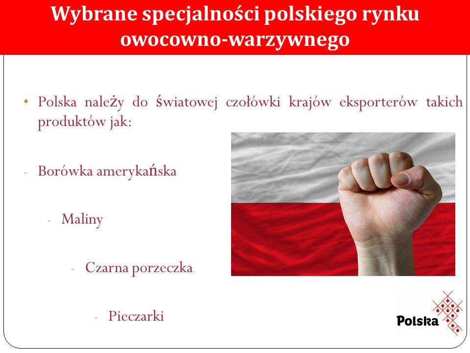 Polska nale ż y do ś wiatowej czołówki krajów eksporterów takich produktów jak: - Borówka ameryka ń ska - Maliny - Czarna porzeczka - Pieczarki