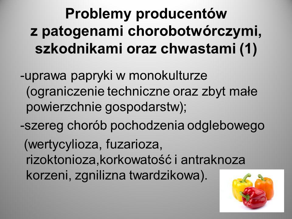 Problemy producentów z patogenami chorobotwórczymi, szkodnikami oraz chwastami (1) -uprawa papryki w monokulturze (ograniczenie techniczne oraz zbyt małe powierzchnie gospodarstw); -szereg chorób pochodzenia odglebowego (wertycylioza, fuzarioza, rizoktonioza,korkowatość i antraknoza korzeni, zgnilizna twardzikowa).