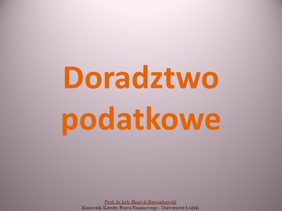 Doradztwo podatkowe Prof. dr hab.