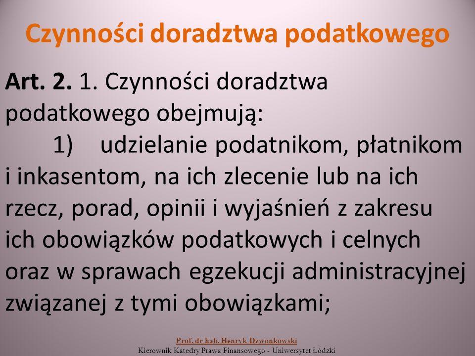 Czynności doradztwa podatkowego Art. 2. 1.