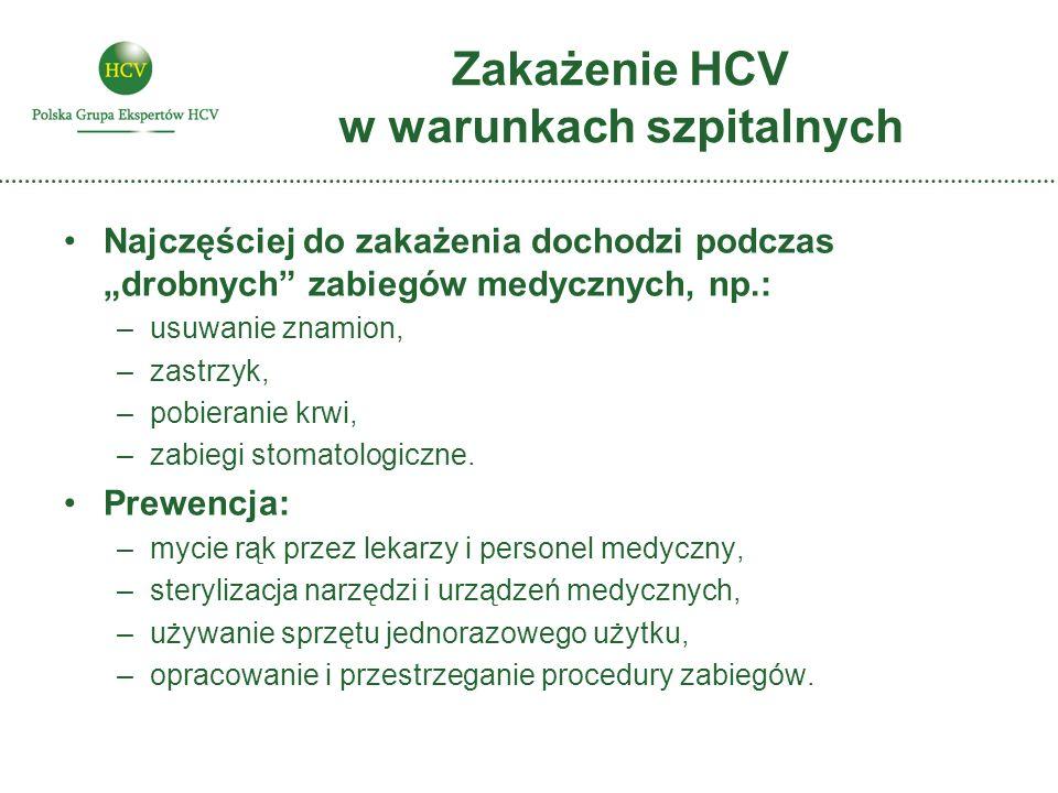 """Zakażenie HCV w warunkach szpitalnych Najczęściej do zakażenia dochodzi podczas """"drobnych zabiegów medycznych, np.: –usuwanie znamion, –zastrzyk, –pobieranie krwi, –zabiegi stomatologiczne."""