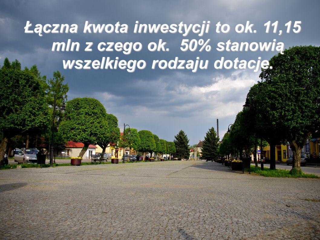 Łączna kwota inwestycji to ok. 11,15 mln z czego ok. 50% stanowią wszelkiego rodzaju dotacje.