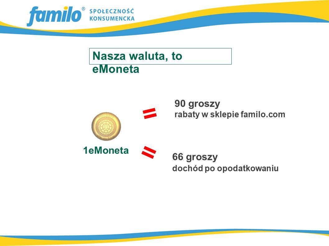 = 1eMoneta 66 groszy dochód po opodatkowaniu = 90 groszy rabaty w sklepie familo.com Nasza waluta, to eMoneta