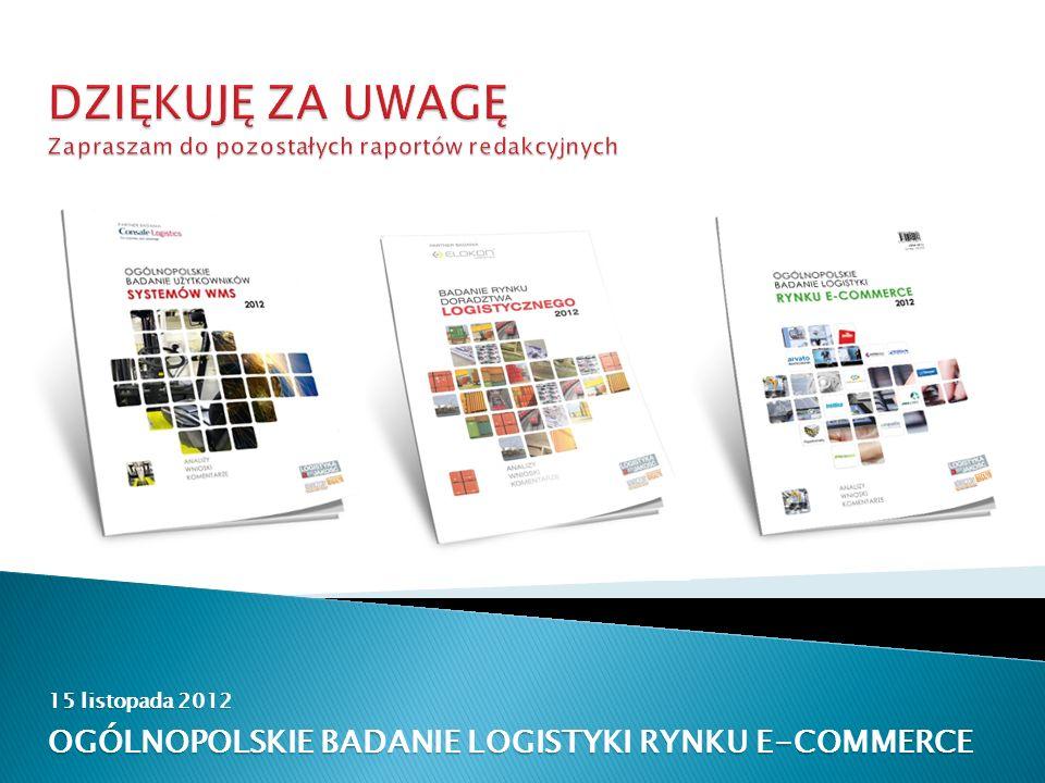 15 listopada 2012 OGÓLNOPOLSKIE BADANIE LOGISTYKI RYNKU E-COMMERCE