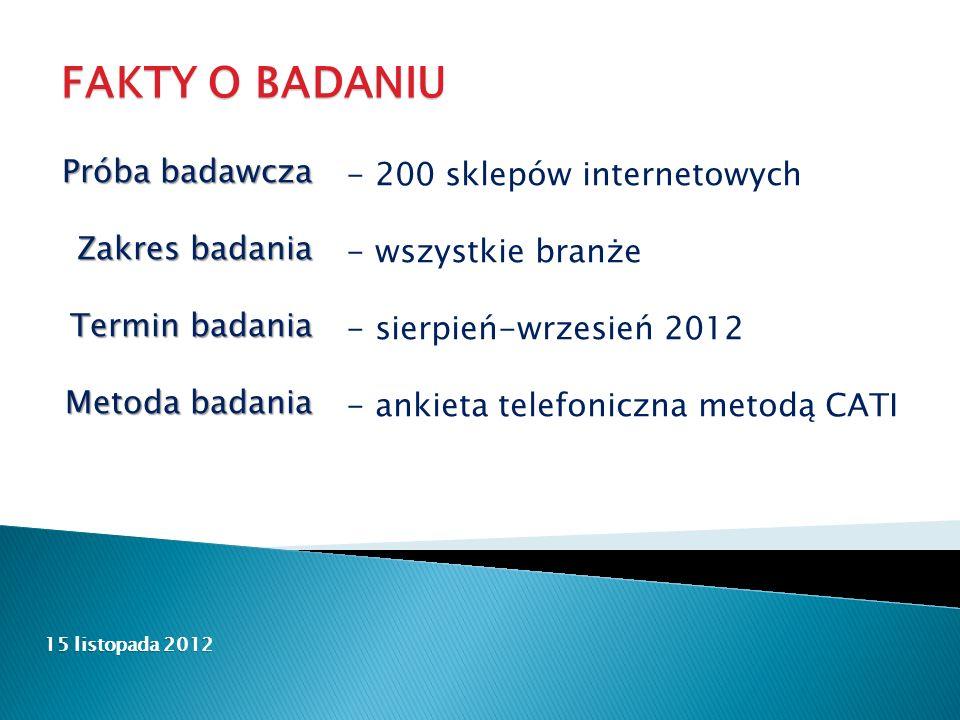 FAKTY O BADANIU - 200 sklepów internetowych - wszystkie branże - sierpień-wrzesień 2012 - ankieta telefoniczna metodą CATI Próba badawcza Zakres badania Termin badania Metoda badania