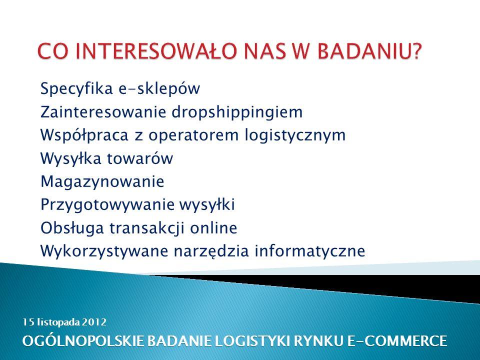 15 listopada 2012 OGÓLNOPOLSKIE BADANIE LOGISTYKI RYNKU E-COMMERCE Specyfika e-sklepów Zainteresowanie dropshippingiem Współpraca z operatorem logistycznym Wysyłka towarów Magazynowanie Przygotowywanie wysyłki Obsługa transakcji online Wykorzystywane narzędzia informatyczne