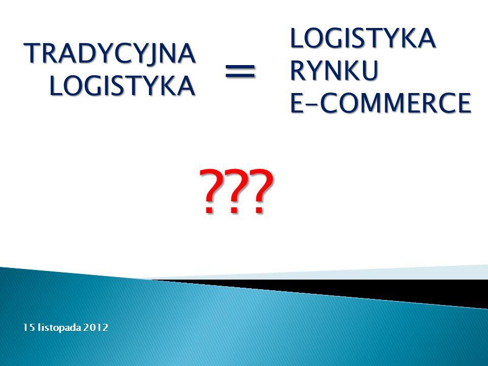 15 listopada 2012 LOGISTYKARYNKUE-COMMERCE TRADYCYJNALOGISTYKA =