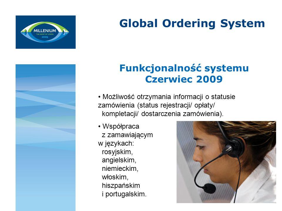 Global Ordering System Funkcjonalność systemu Czerwiec 2009 Możliwość otrzymania informacji o statusie zamówienia (status rejestracji/ opłaty/ kompletacji/ dostarczenia zamówienia).
