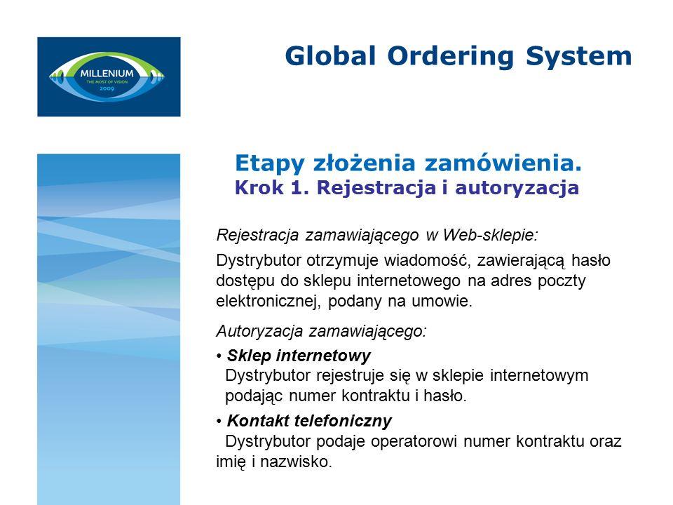 Global Ordering System Etapy złożenia zamówienia. Krok 1.
