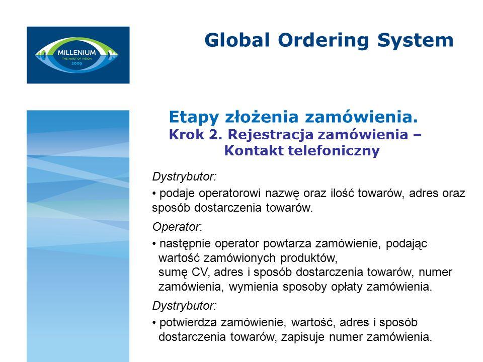 Global Ordering System Etapy złożenia zamówienia. Krok 2.