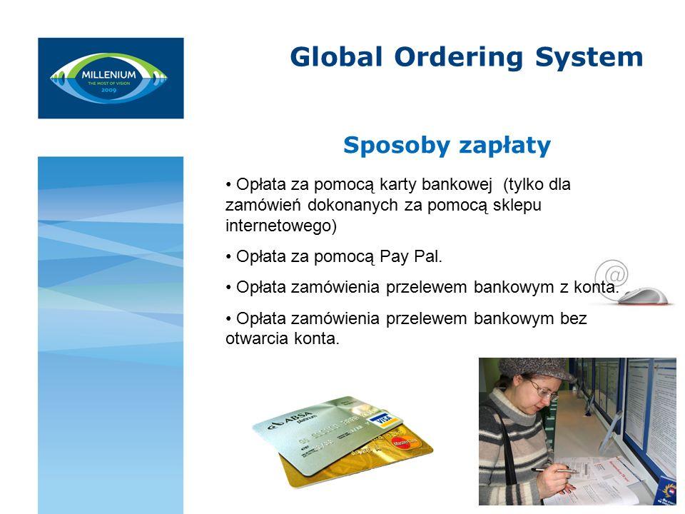 Global Ordering System Sposoby zapłaty Opłata za pomocą karty bankowej (tylko dla zamówień dokonanych za pomocą sklepu internetowego) Opłata za pomocą Pay Pal.