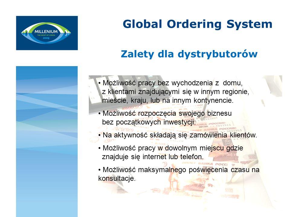 Global Ordering System Zalety dla dystrybutorów Możliwość pracy bez wychodzenia z domu, z klientami znajdującymi się w innym regionie, mieście, kraju, lub na innym kontynencie.