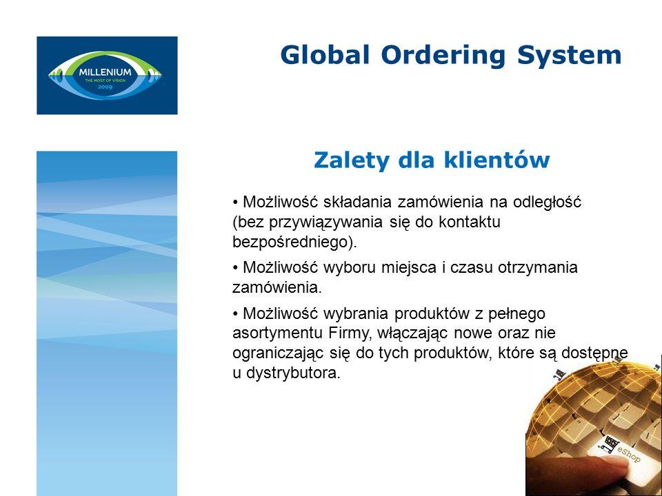Global Ordering System Zalety dla klientów Możliwość składania zamówienia na odległość (bez przywiązywania się do kontaktu bezpośredniego).