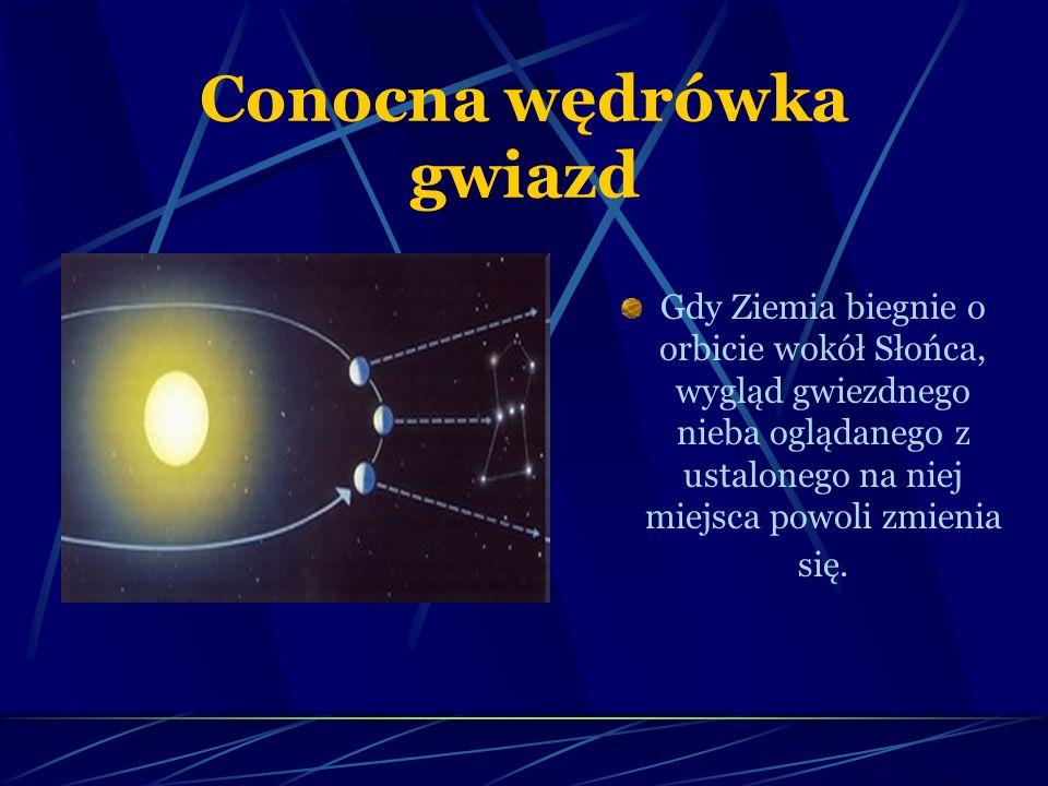 Conocna wędrówka gwiazd Gdy Ziemia biegnie o orbicie wokół Słońca, wygląd gwiezdnego nieba oglądanego z ustalonego na niej miejsca powoli zmienia się.