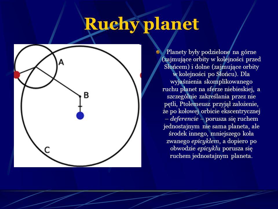 Ruchy planet Planety były podzielone na górne (zajmujące orbity w kolejności przed Słońcem) i dolne (zajmujące orbity w kolejności po Słońcu). Dla wyj