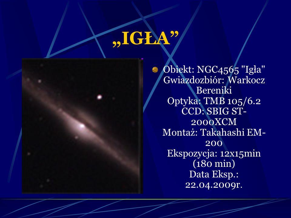 """""""IGŁA Obiekt: NGC4565 Igła Gwiazdozbiór: Warkocz Bereniki Optyka: TMB 105/6.2 CCD: SBIG ST- 2000XCM Montaż: Takahashi EM- 200 Ekspozycja: 12x15min (180 min) Data Eksp.: 22.04.2009r."""