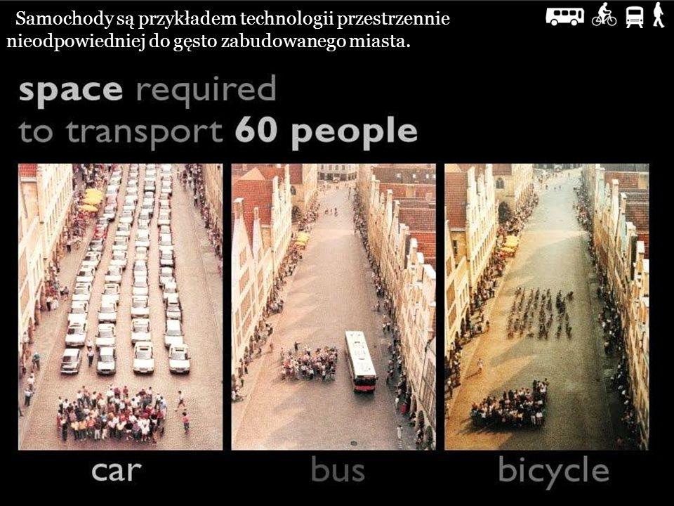 Samochody są przykładem technologii przestrzennie nieodpowiedniej do gęsto zabudowanego miasta.