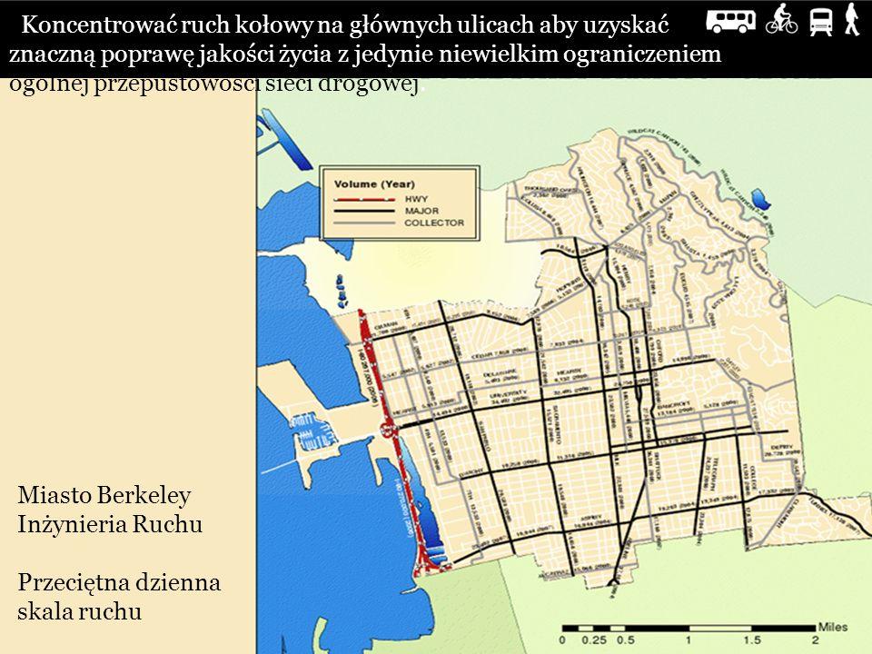 Koncentrować ruch kołowy na głównych ulicach aby uzyskać znaczną poprawę jakości życia z jedynie niewielkim ograniczeniem ogólnej przepustowości sieci drogowej.