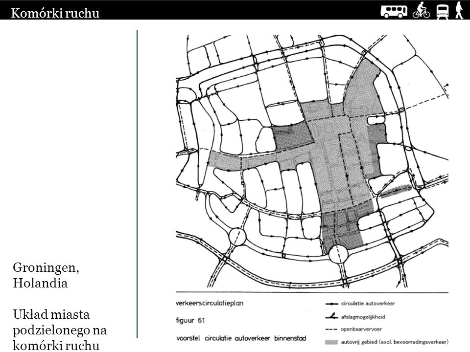 Komórki ruchu Groningen, Holandia Układ miasta podzielonego na komórki ruchu