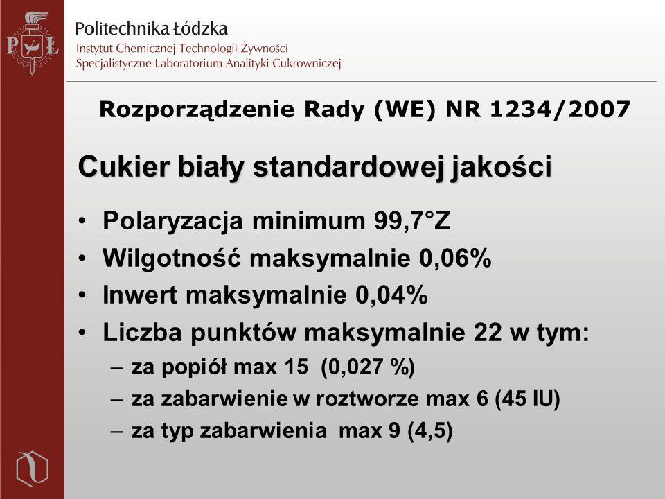 Cukier biały standardowej jakości Polaryzacja minimum 99,7°Z Wilgotność maksymalnie 0,06% Inwert maksymalnie 0,04% Liczba punktów maksymalnie 22 w tym: –za popiół max 15 (0,027 %) –za zabarwienie w roztworze max 6 (45 IU) –za typ zabarwienia max 9 (4,5)