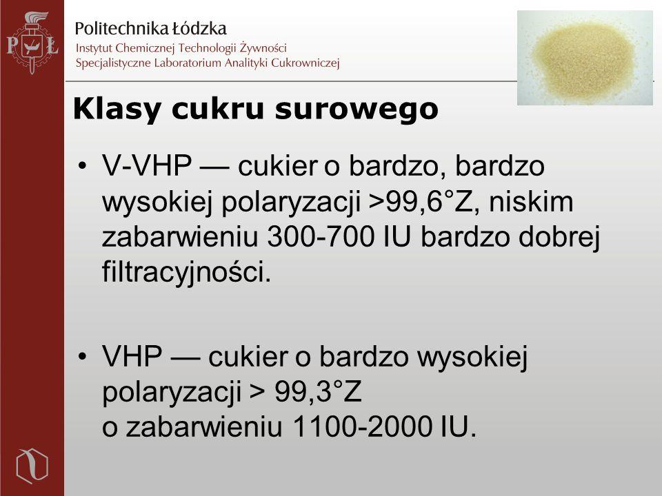 Klasy cukru surowego V-VHP — cukier o bardzo, bardzo wysokiej polaryzacji >99,6°Z, niskim zabarwieniu 300-700 IU bardzo dobrej filtracyjności.