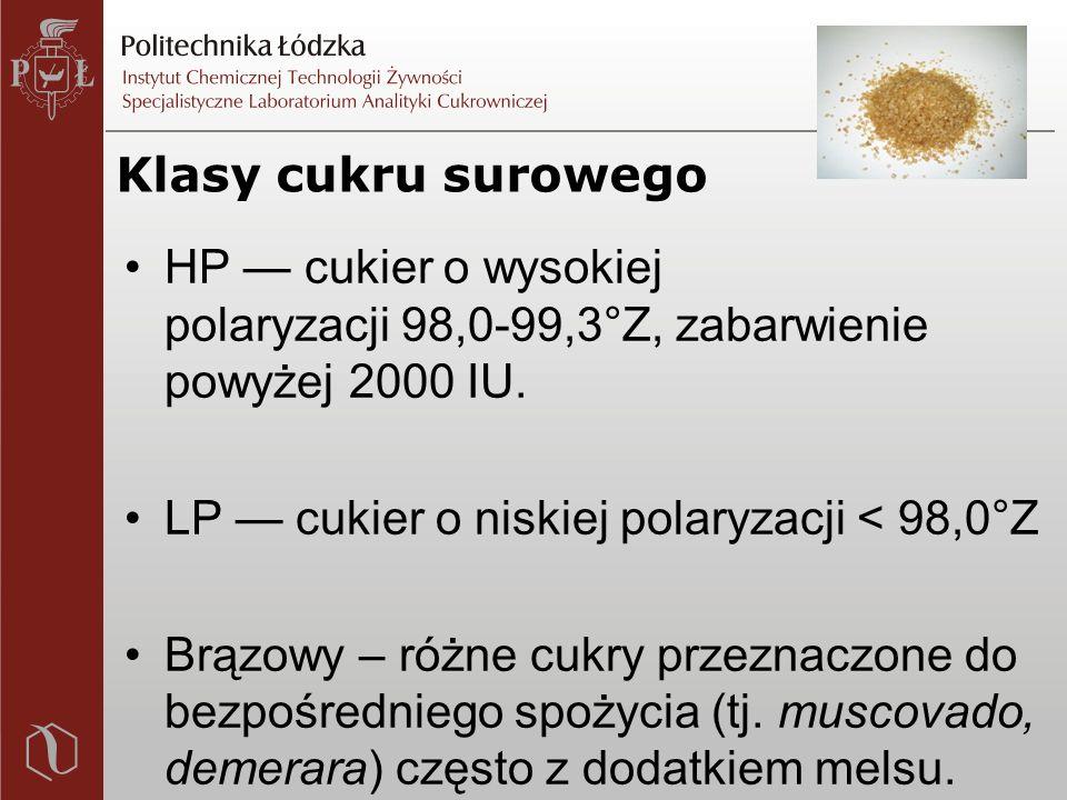 Klasy cukru surowego HP — cukier o wysokiej polaryzacji 98,0-99,3°Z, zabarwienie powyżej 2000 IU.
