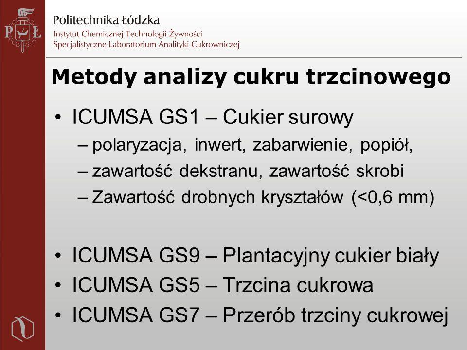 Metody analizy cukru trzcinowego ICUMSA GS1 – Cukier surowy –polaryzacja, inwert, zabarwienie, popiół, –zawartość dekstranu, zawartość skrobi –Zawartość drobnych kryształów (<0,6 mm) ICUMSA GS9 – Plantacyjny cukier biały ICUMSA GS5 – Trzcina cukrowa ICUMSA GS7 – Przerób trzciny cukrowej