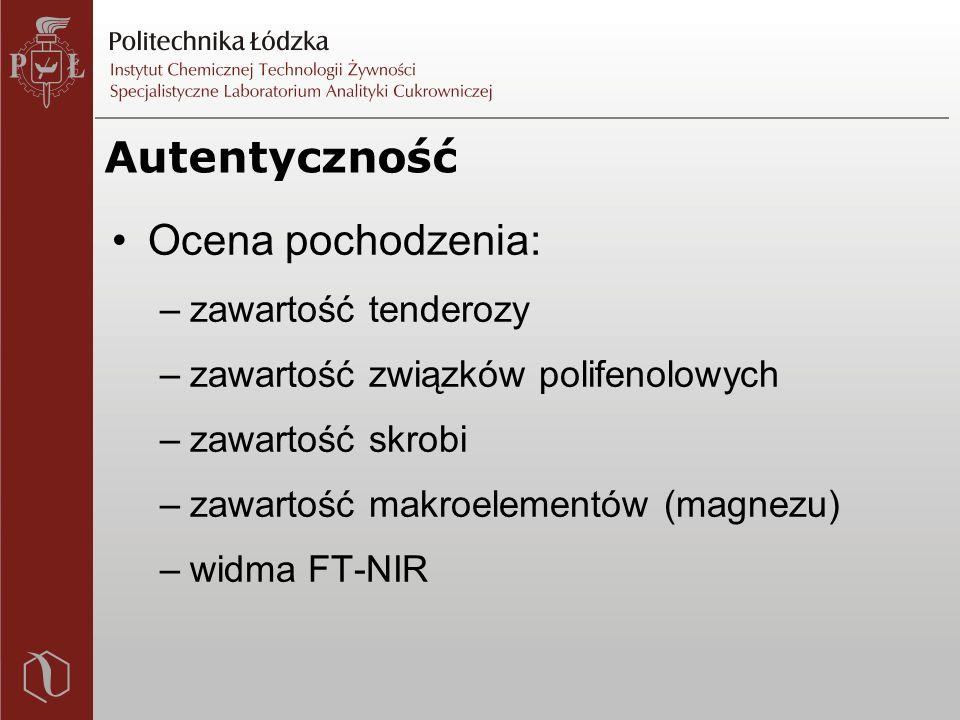 Autentyczność Ocena pochodzenia: –zawartość tenderozy –zawartość związków polifenolowych –zawartość skrobi –zawartość makroelementów (magnezu) –widma FT-NIR