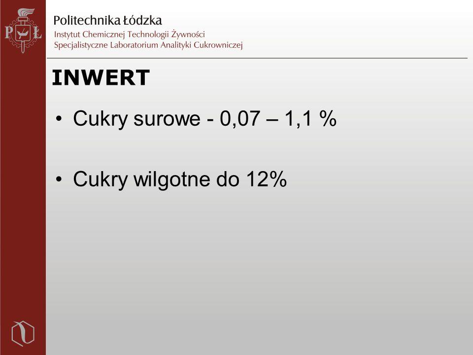 INWERT Cukry surowe - 0,07 – 1,1 % Cukry wilgotne do 12%