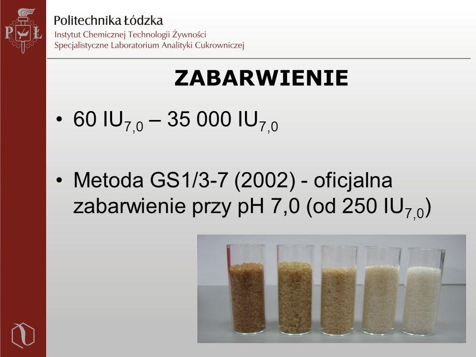 ZABARWIENIE 60 IU 7,0 – 35 000 IU 7,0 Metoda GS1/3-7 (2002) - oficjalna zabarwienie przy pH 7,0 (od 250 IU 7,0 )
