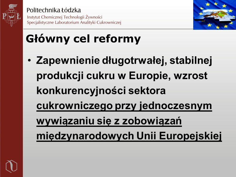 Główny cel reformy Zapewnienie długotrwałej, stabilnej produkcji cukru w Europie, wzrost konkurencyjności sektora cukrowniczego przy jednoczesnym wywiązaniu się z zobowiązań międzynarodowych Unii Europejskiej